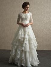 Charming Tiered A-line Wedding Dress Half Sleeve Scoop Floor Length Vestido De Noiva Applique With Beading NM 462