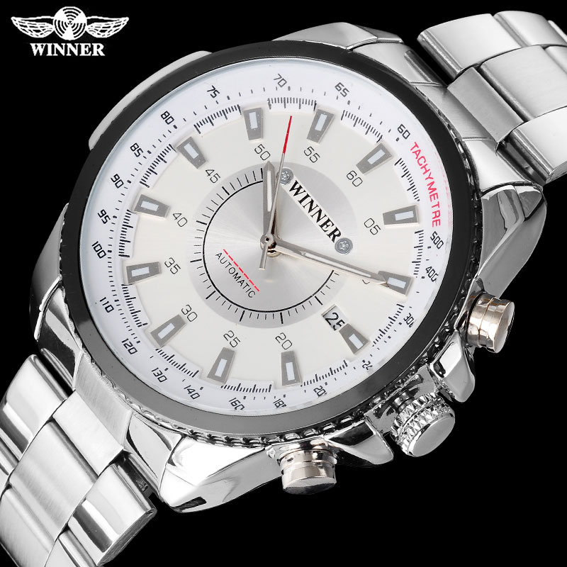 WINNER fashion casual men machanical watches luxury automatic watches stainless steel band auto date white dials reloj hombre 2017 winner famous brand men fashion automatic self wind watches white dial transparent glass silver case stainless steel band