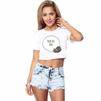 FREE Custom Text Crop Tee Print Name In Bubble Box With Kitty Cat Women Summer Belly
