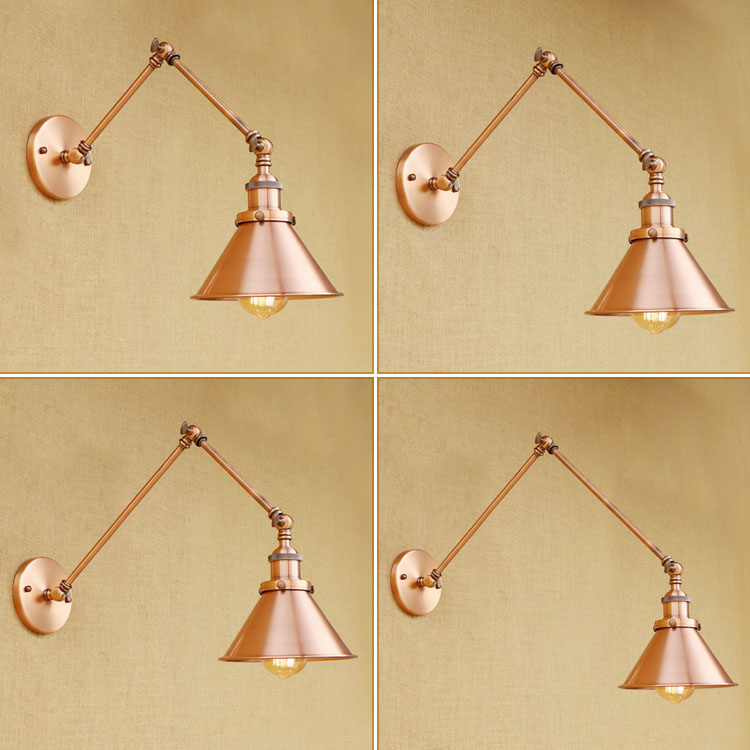 IWHD Wall Lamp Iron Retro Industial Lighting Long Swing Arm Lampen Red Rustly Lamp Shade For Home Bed Lamparas De Techo 2017 smart home crystal glass panel wall switch wireless remote light switch us 1 gang wall light touch switch with controller