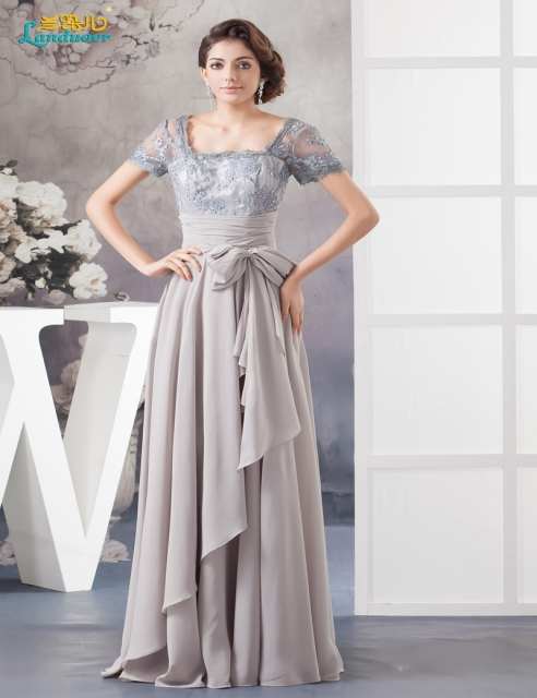 Fashion Summer Silver Grey Dresses Mother Bride Chiffon Lace Short Sleeves Of The