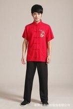 Красный Новый китайский Для мужчин белье вышивать рубашки Мотобрюки кунг-фу костюм размеры S M L XL XXL, XXXL