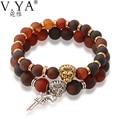 Luxury Stone Beaded Bracelets for Men Jewelry 20CM Elastic Cord Beads Gold Plating Lionhead Gun Charm Bracelet PB51