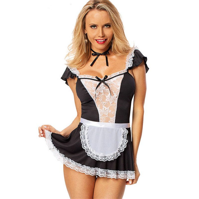 new Large size Sexy Gothic Maid Dress Plus Size black Maid Cosplay restaurant Waiter Uniform Party club Maid Costume Halloween