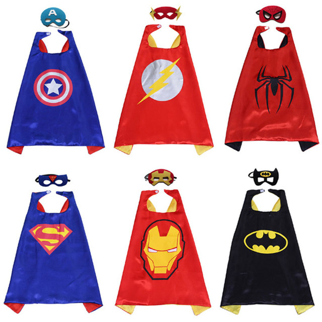 Crianças Manto + Máscara de Super-heróis Festa de Aniversário Cosplay Homem Aranha/Superman/Homem De Ferro Máscara Capa Do Dia Das Bruxas Carnaval Traje