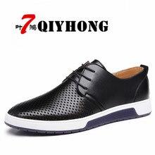 Qiyhong 2018 Лидер продаж Мужская обувь Пояса из натуральной кожи отверстия Дизайн дышащая обувь Демисезонный Бизнес Для мужчин Sapatos Masculinos