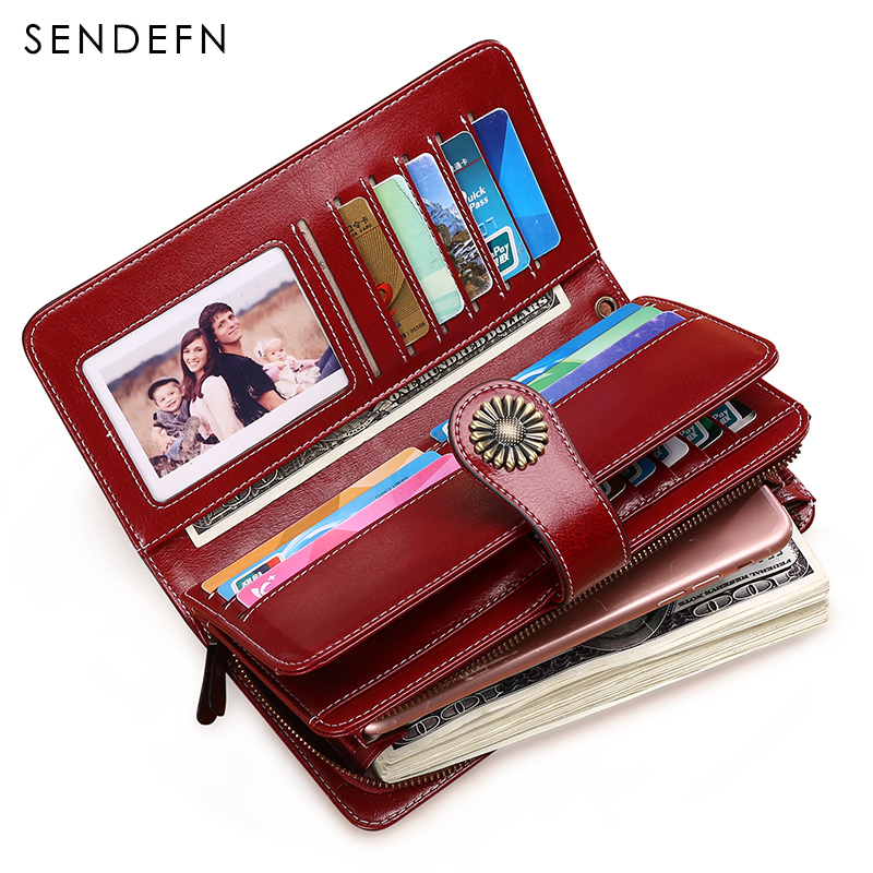 2018 New Women Purses Split Leather Female Long Wallet Large Capacity Lady Zipper Wallets Strap Coin Purse Woman Clutch large capacity women wallet leather card coin holder money clip long clutch phone wristlet trifold zipper cash female purse