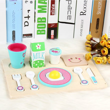 Wooden Play house Toy Children Simulation Toys Pretend House Breakfast Combination Kitchen Gift For Kids