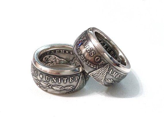 Morgan Silver Dollar Coin Ring 'eagle' 90% Silver Handmade In Sizes 8-15