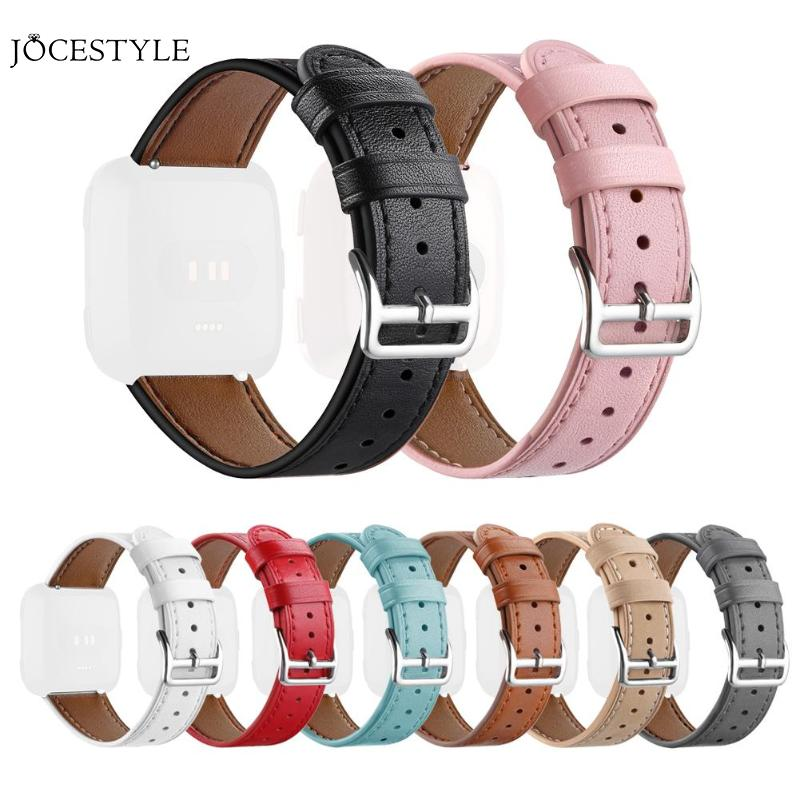Leather Adjustable Watchband Bracelet Strap for Fitbit Versa Smart Watch Replacement Watchband 22cm