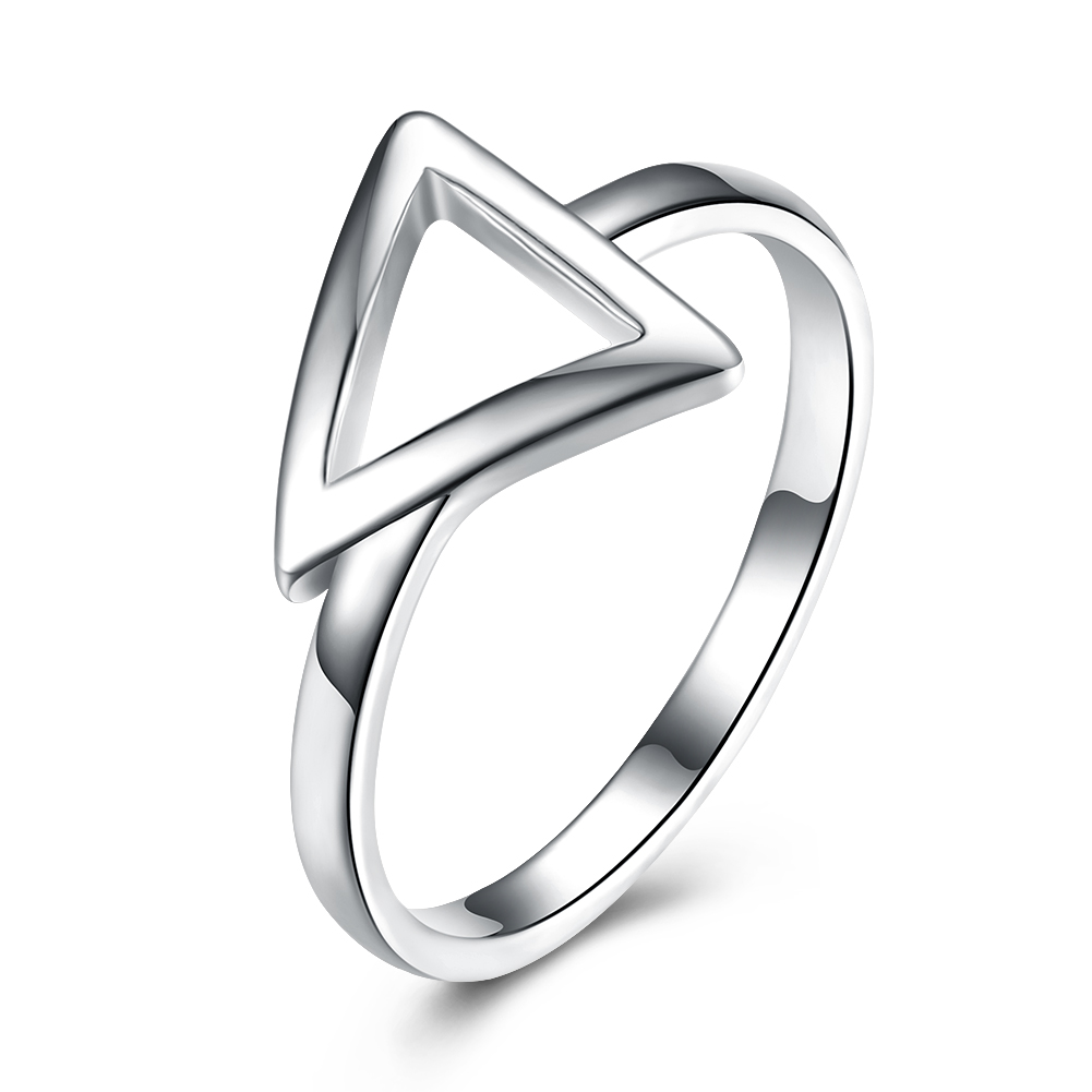 Fashion 925 Classic font b Ring b font Triangle Shape Silver Color Plated font b Finger
