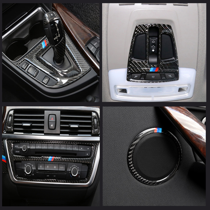For BMW F30 3//4 series 3GT 17-18 Carbon Fiber Console Air Vent Outlet Cover Trim