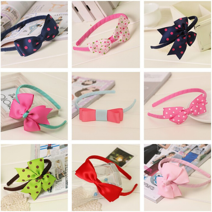 Hot Sale cute girls kids satin ribbon bow hairband hair head hoop bands clasp bows accessories for children headdress wholesale han edition of the new bankcard yarn rope ribbon hair with hair hoop hair tire wholesale