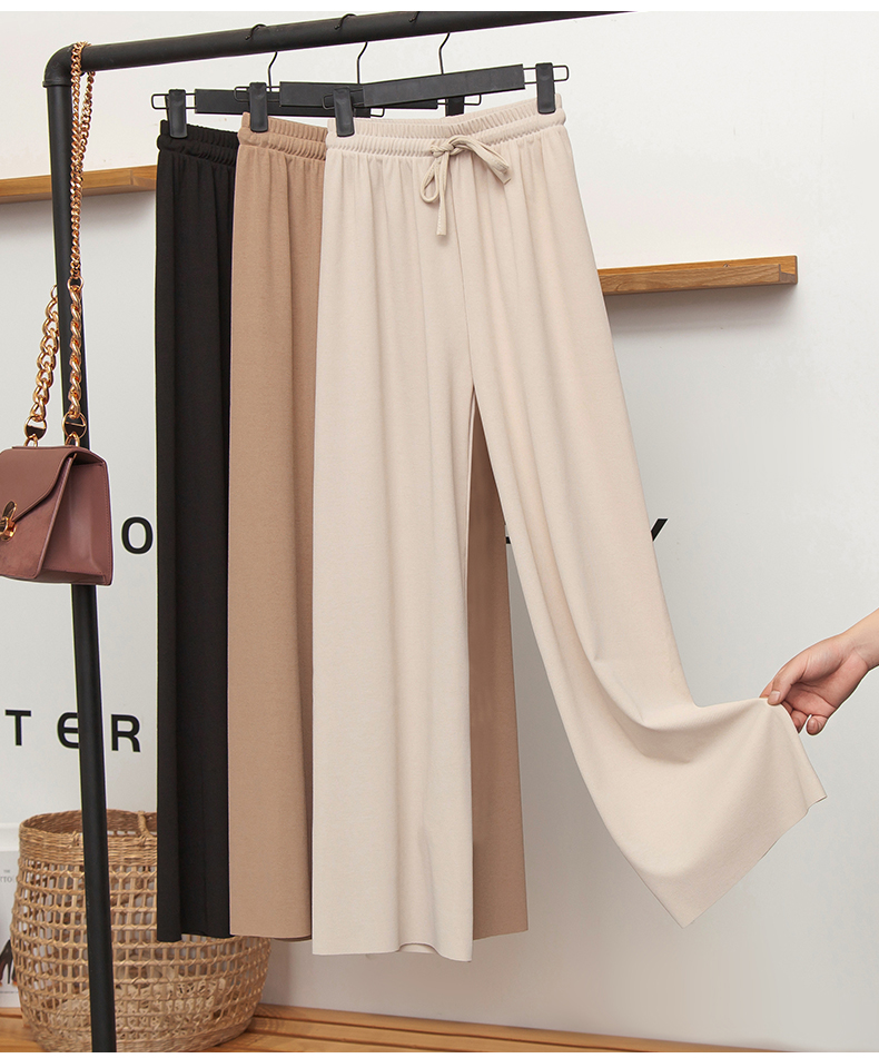 Women's Summer Ice Silk Wide Leg Pants Big Yards Loose Pant Fashion Culottes Elastic Waist Ankle-Length Pants Casual Pants G415