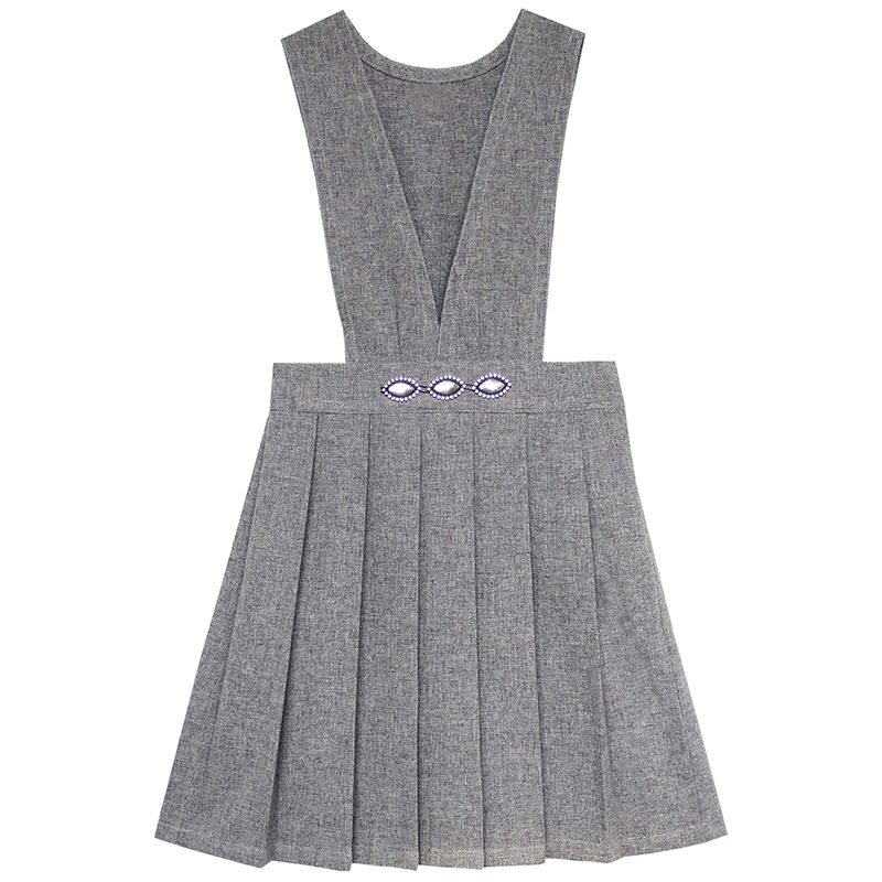 Sunny Fashion Girls font b Dress b font V Neck Pleated Hem School Uniform 2017 Summer