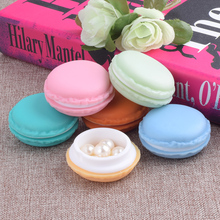 6pcs/lot 4.3x2cm Colorful Macarons Box Jewelry Earrings Ear Studs Pills Outing Storage Case PP + TPE Mixed Organizer Storage Box