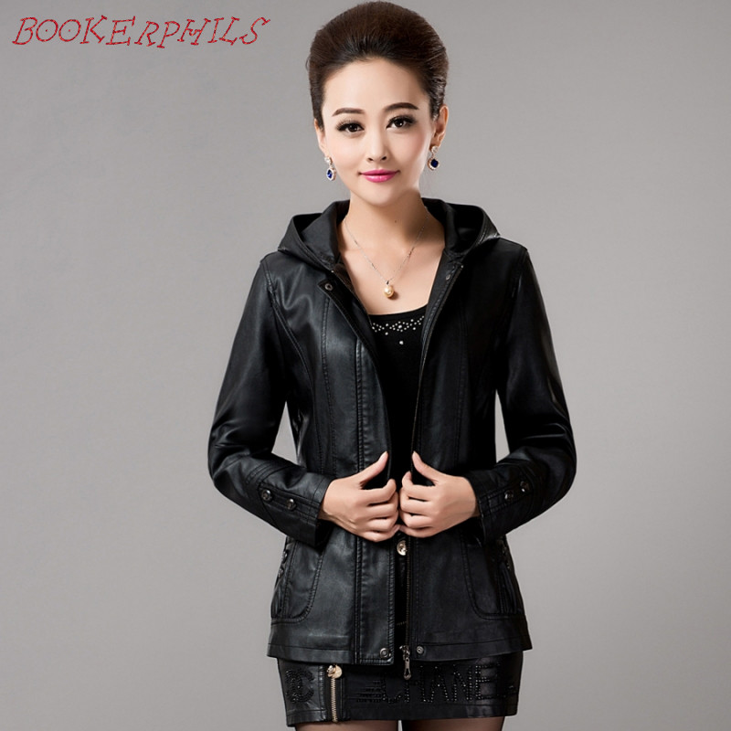 2017 New Spring Women's Hooded Leather Jakke Ladies Slim Sheepskin Læder Frakke Plus Size Kvinder Beklædning Overtøj Fashion