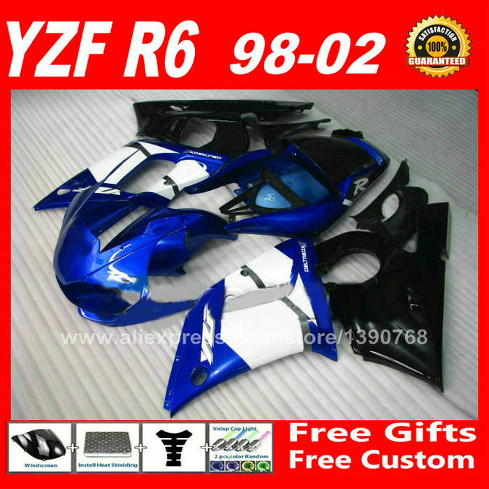 OEM blue black Fairing kit for YAMAHA YZF R6 98 99 00 01 02 plastic parts  fairings kits 1998 1999 2000 2001 2002