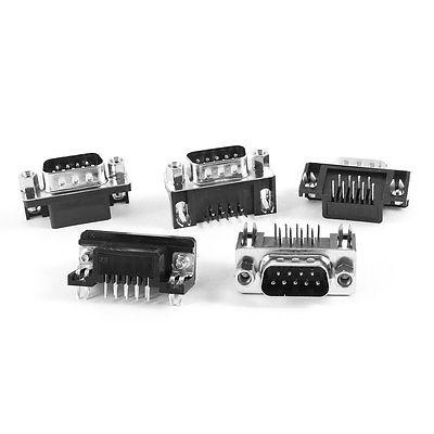 все цены на 5 Pcs DB9 9Pin Right Angle PCB Mounting Connector Male Plug онлайн