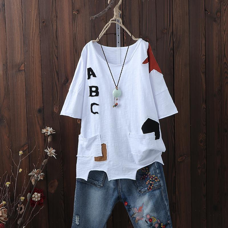 F&je New Arrival Summer Women T Shirt Plus Size Irregularity Loose Casual Tops Tee Shirt Femme Cotton Short Sleeve Tshirt D31