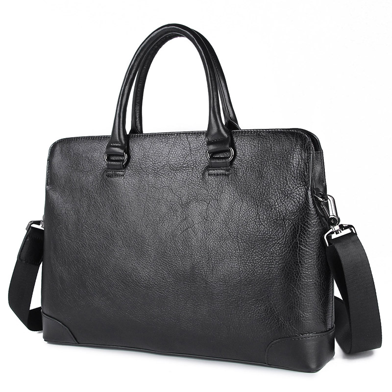 Nesitu Highend Black Genuine Leather A4 14'' Laptop Office Men Briefcase Male Business Shoulder Messenger Bags Portfolio M7406