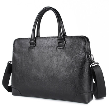 Nesitu Highend Black Genuine Leather A4 14'' Laptop Office Men Briefcase Male Business Shoulder Messenger Bags Portfolio M7406