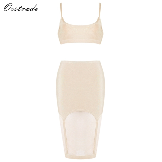 Ocstrade Summer Two piece Dresses for Women 2017 New Arrival Nude Sexy Mesh  2 Piece Bandage Bodycon Dress 1fc3d1b1189a
