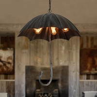 Retro industry Iron black Art Umbrella Retro Pendant Lights Classical Old Cafe Restaurant Bar 5 heads Pendant lamps ZA