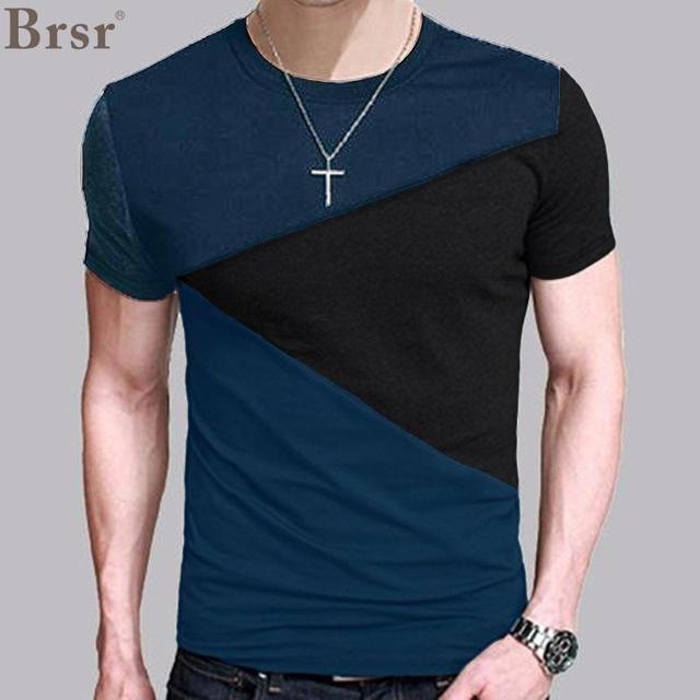 61cc05e59 € 6.34  BRSR Moda hombre 2018 versión coreana corta nueva marca de manga  retales Camiseta cuello redondo hombres camiseta divertida MaleT camisas ...