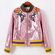 High quality PU leather jacket 2016 autumn new silver pink flowers embroidered leather jacket baseball uniform w1136
