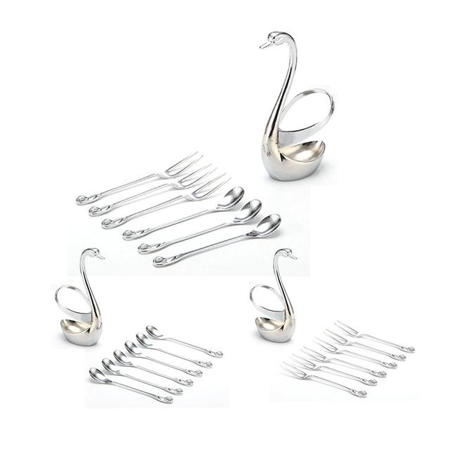 Kitchen Dining Tool Innovative Stainless Steel Cutlery Swan Base Set Tableware Suit Fruit Fork