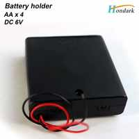 6V 4X1.5V waterproof battery holder 4XAA 4AA battery box 4XLR06 battery shell with ON/OFF switch cover 6''wires,50pcs/lot