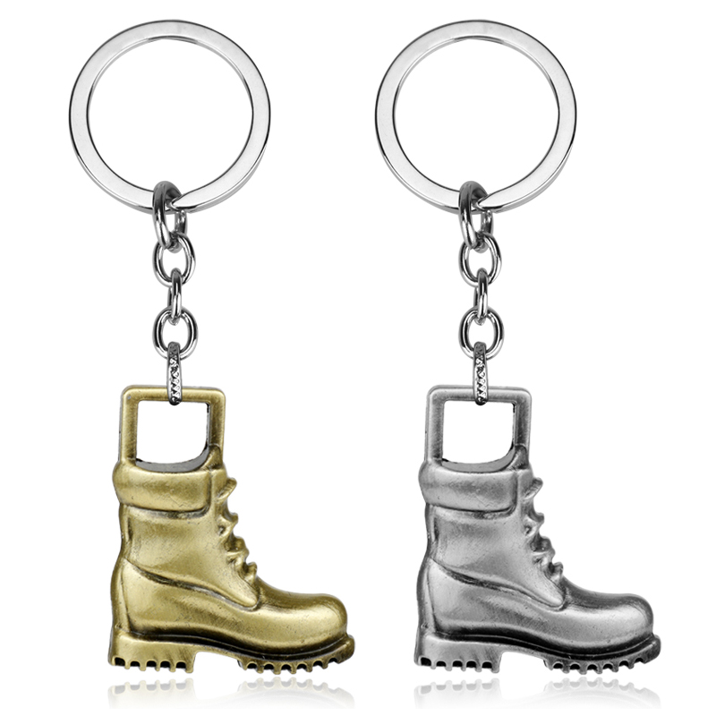 dongsheng Wholesale 12pcs/lot Jewelry Cowboy Shoes Shaped Pendants Keychain Key Ring for Men Bags Accessories-50