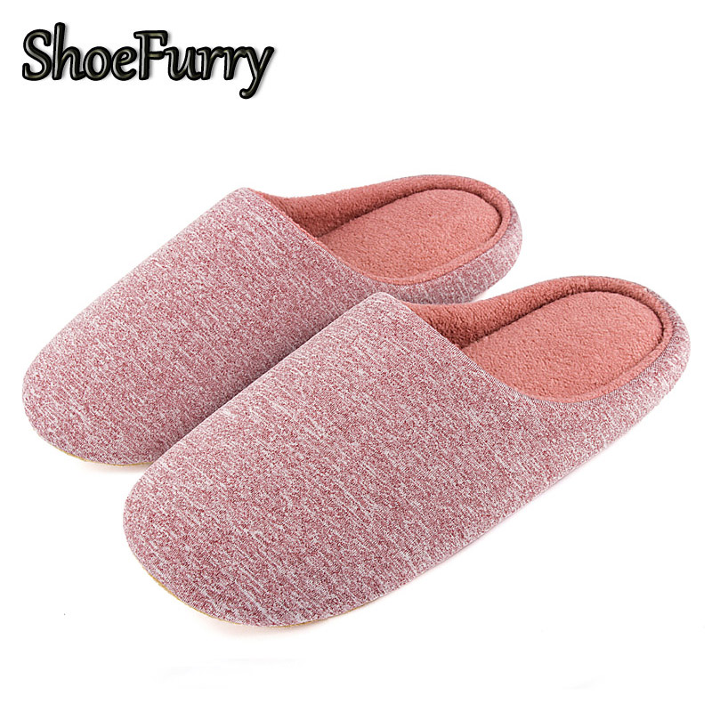 ShoeFurry Women Cotton Shoes Home Slippers Soft Bottom Mute Bedroom Slippers Woman Plush Indoor Shoes Winter Female Fur Slippers
