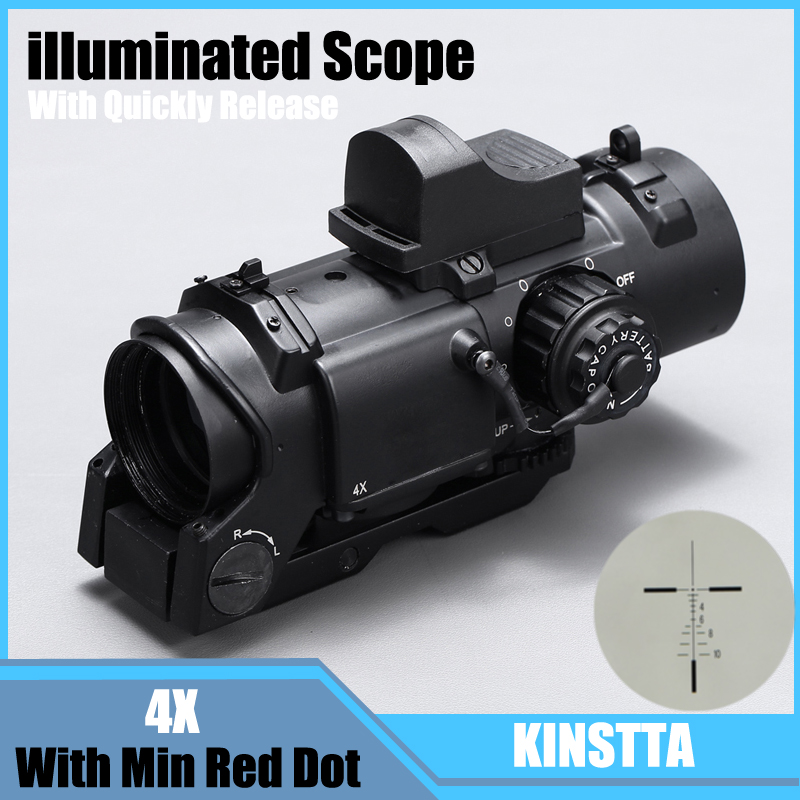 Tactical 4x Fixed Dual Purpose Scope With Mini Red Dot Scope Red Dot Sight For Rifle Hunting Shooting CS Battle And Hunter tactical m4 1x40 red dot sight scope all aluminum alloy cnc hunting shooting r5565
