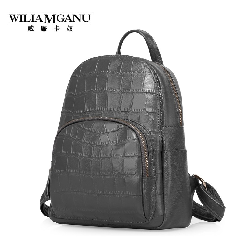 WILIAMGANU Genuine Leather Bags Women Alligator School bags For Teenagers Girls female backpack Travel red black