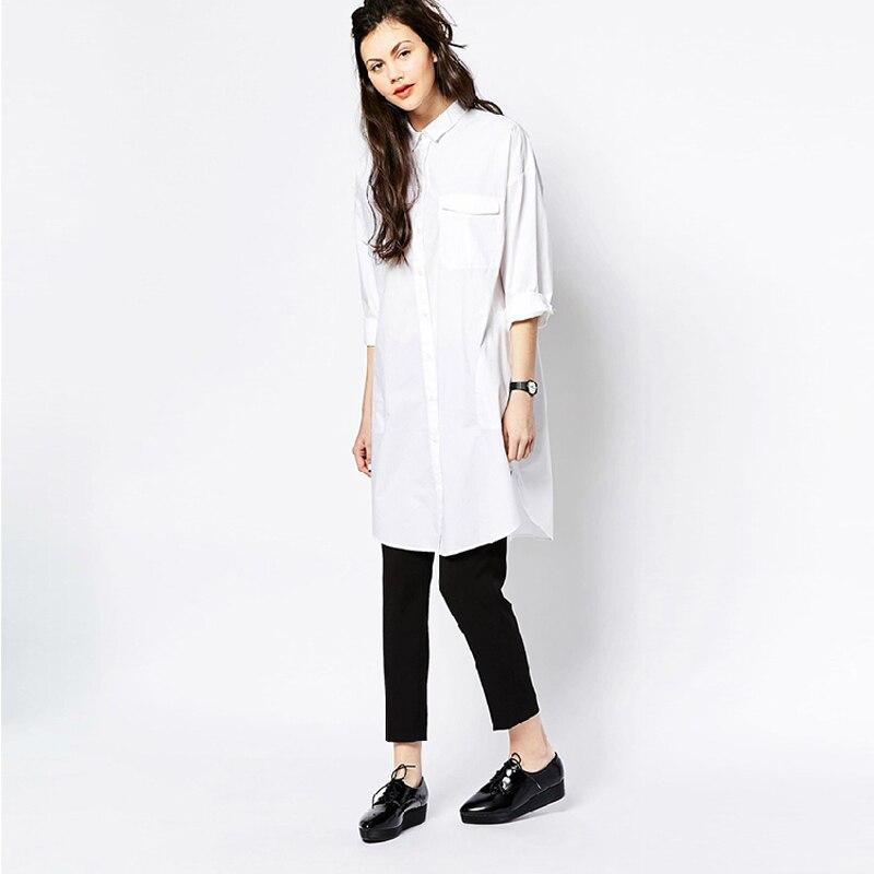 White Shirt Tops Women Boyfriend Style Long Sleeve Loose Casual ...
