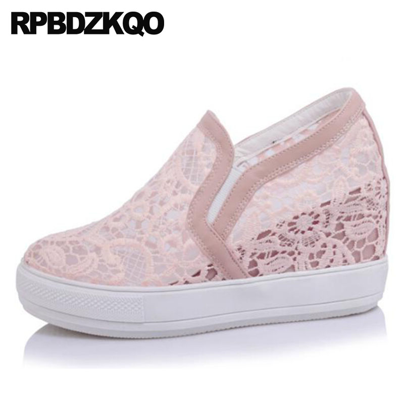 size 4 34 platform 13 45 casual mesh 33 pumps round toe shoes hidden 8cm creepers pink wedge plus increase high heels 12 44 big все цены
