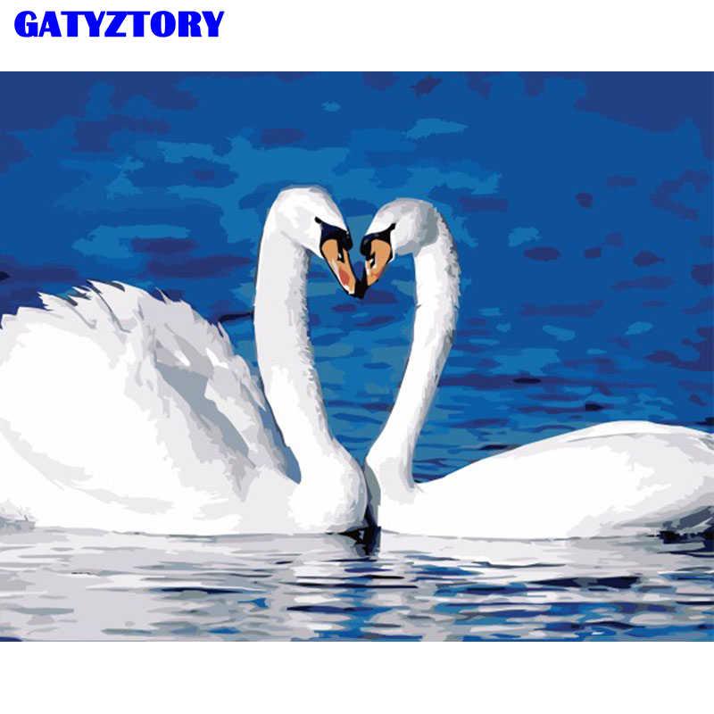Бескаркасная пара лебедь животные DIY живопись по номерам Современная Настенная живопись ручная роспись маслом на холсте для украшения свадьбы