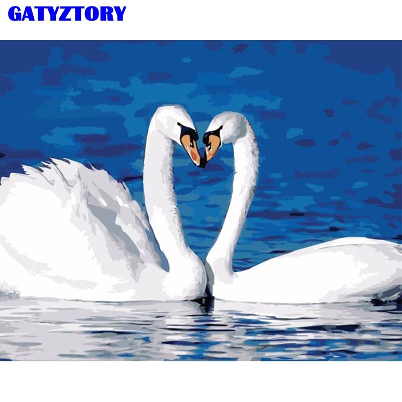 فرملس زوجين بجعة الحيوانات diy الطلاء بواسطة أرقام جدار الفن الحديث رسمت باليد النفط الطلاء على قماش للزينة الزفاف