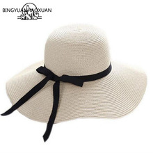BINGYUANHAOXUAN Summer Hats for Women Chapeau Femme Sun Beach Hat Panama Straw Hat Width Ribbon Bow Black Visor Bone Cap Female chic black ribbon embellished summer straw hat for women