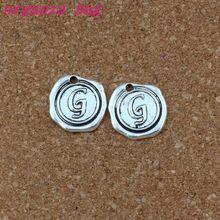 100pcs/lots Letter G Alphabet Initial alloy Charms Pendants Fashion DIY Accessories Antique Silver 18x18.5MM A-467