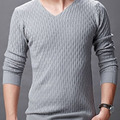 2017 New Men Sweaters Solid V-neck Slim Men's Casual Knitted Pullovers Brand Clothing Male Spring Fashion Clothes Sweater MZM003