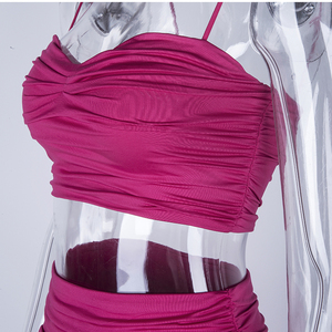 Image 5 - NewAsia 2 Layers Ruched Two Piece Set Pink Outfits Set Crop Top And Mini Skirt Set 2019 Summer Party Wear Sexy Two Piece Outfits