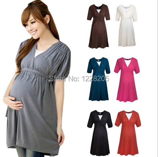 7b6037b599d Fashion online maternity clothes plus size maternity dress pregnancy  clothes Summer maternity wear V-Neck pregnant dresses S-XL