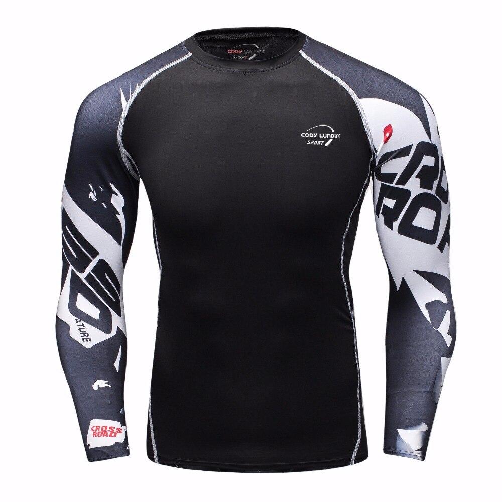 Codylundin Mens Compression Base Strato di Sollevamento Pesi Fitness Stretto MMA Crossfit Top Rashguard T-Shirt 3D Maniche Lungh