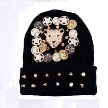 Новая мода женщины мужчины мальчик девочка ручной новинка зимняя шапка шапочки тепловой вязать шипованные заклепки ногтей головой леопарда хип-хоп gorro cap