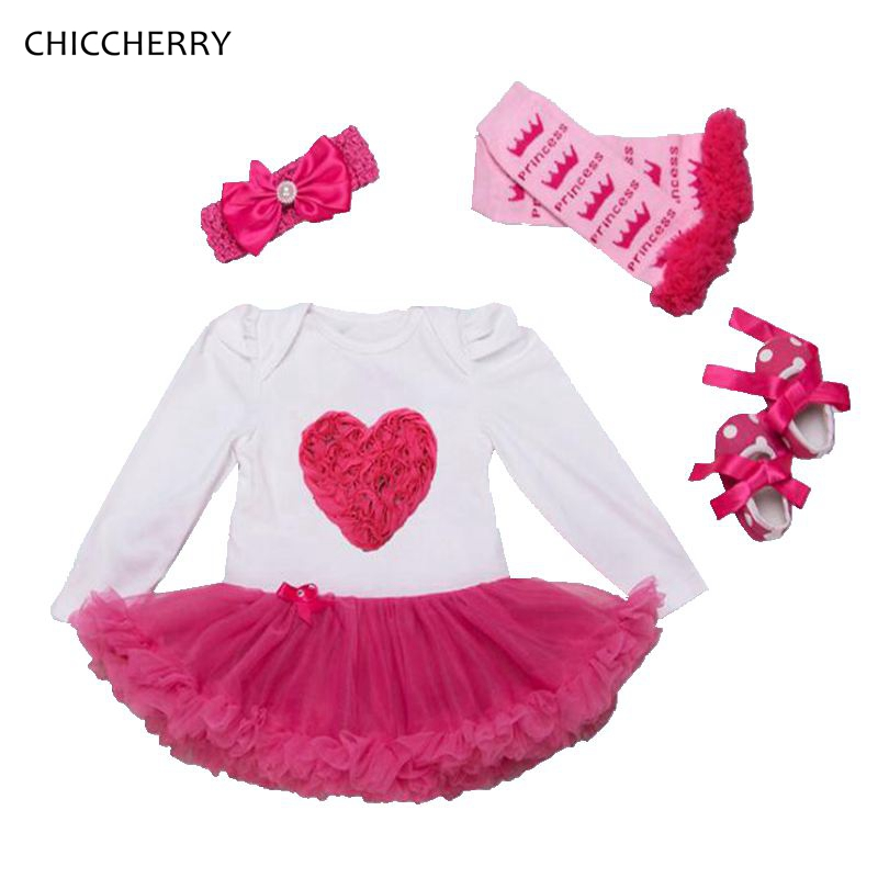 3D Rose Flowers Valentines Day Girl Outfits Heart Baby Lace Dress Hairband Legwarmes Crib Shoes Set Vestido Bebe Infant Clothes