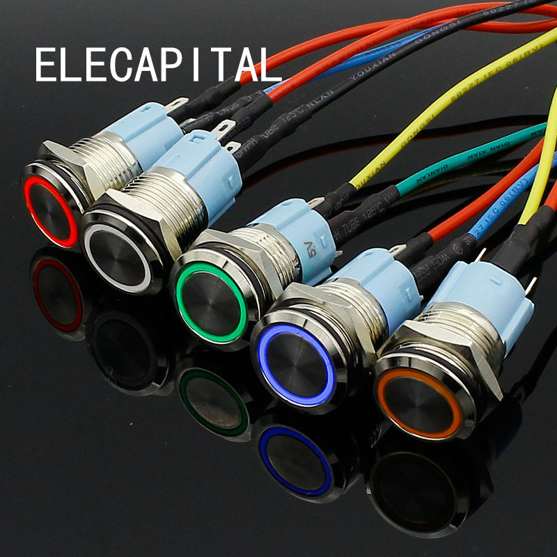 16mm red blue yellow green white Light Hot Car Auto Metal LED Power Push Button Switch Latching Type On-off 3V 5V 12V 24V 220V 1 x 16mm od led ring illuminated latching push button switch 2no 2nc