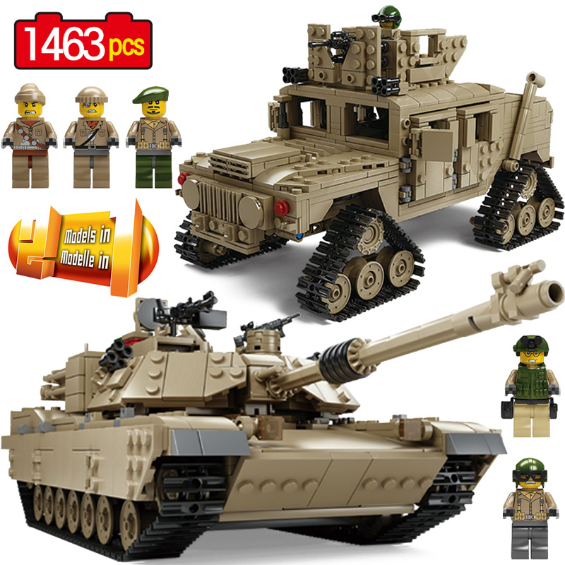Blocs créatifs Technique M1A2 Réservoir Collection Compatible Legoingly Militaire M1A2 Abrams Char de Combat Principal Arme DIY Briques Jouets